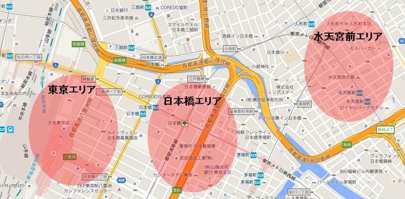 東京と水天宮の位置関係