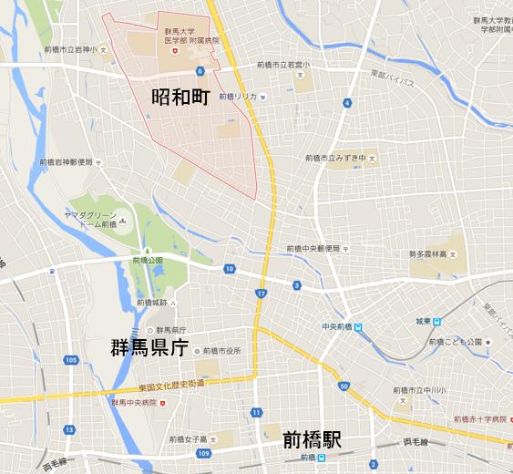 前橋市昭和町の地図